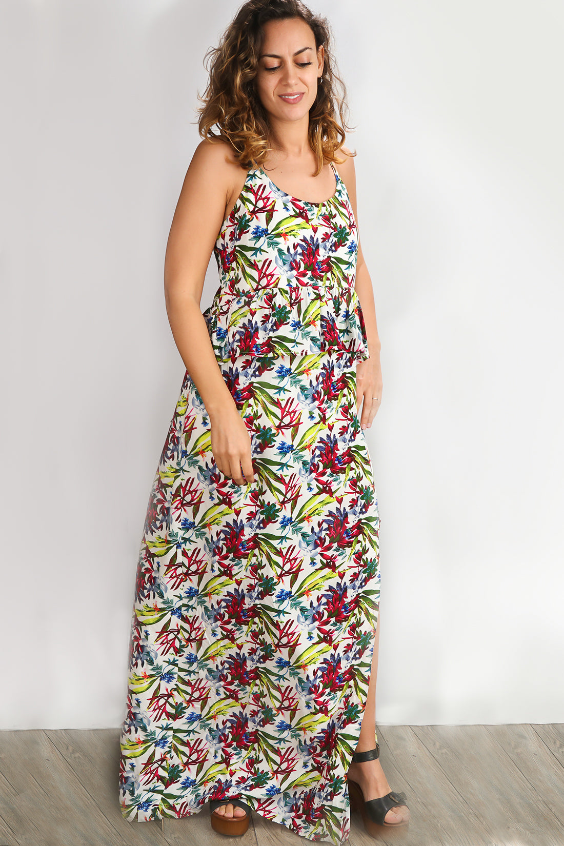 Ivory Vibrant Floral Print Lined Maxi Dress