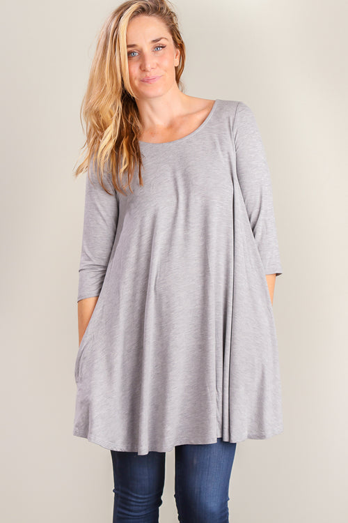 Grey Pocketed Soft Dress