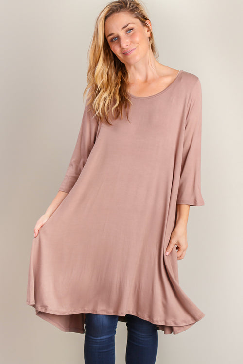 Mocha Pocketed Soft Dress
