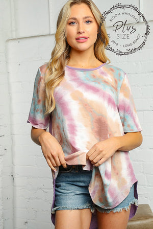 Plus Purple & Taupe Mix Tie Dye Solid Back Blouse