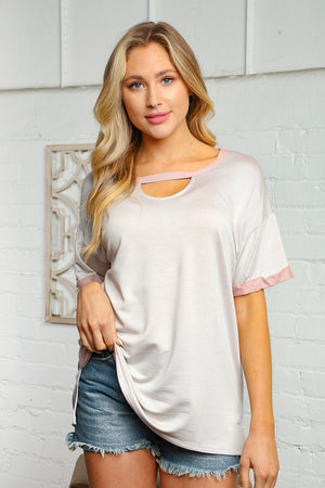 Light Grey & Pink Front Detail Blouse
