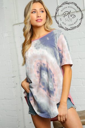 Plus Navy & Pink Mix Tie Dye Solid Back Blouse