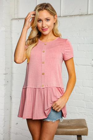 Pink Button Solid Blouse