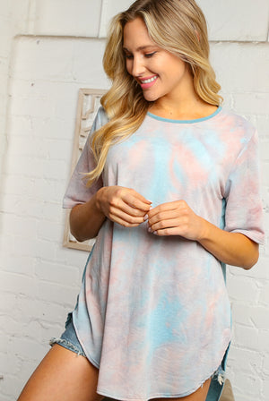Baby Blue & Light Peach Mix Tie Dye Solid Back Blouse