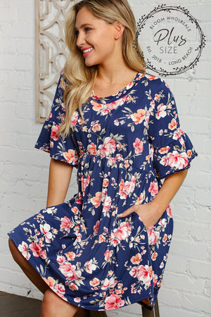 Plus Navy Floral Bell Sleeve Swing Tunic Dress