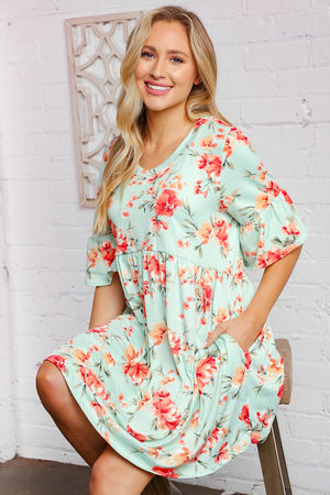 Mint Floral Bell Sleeve Swing Tunic Dress