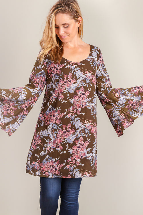 Olive Lined Floral Bell Sleeve Dress