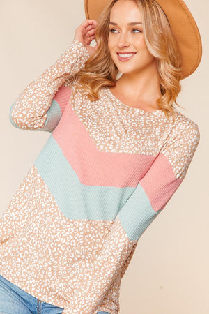 Blush Taupe & Sage Chevron Animal Print Waffle Color Block Blouse