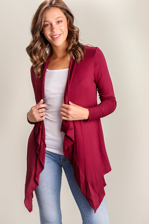 Burgundy Solid Cardigan