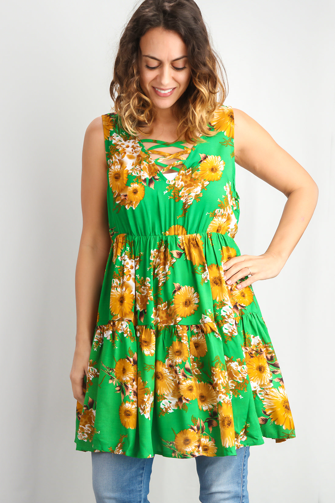 Green Floral Printed Flare Dress