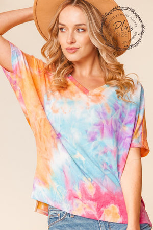 Plus Orange Purple & Blue Tie Dye Ashley Sweater Dolman Blouse