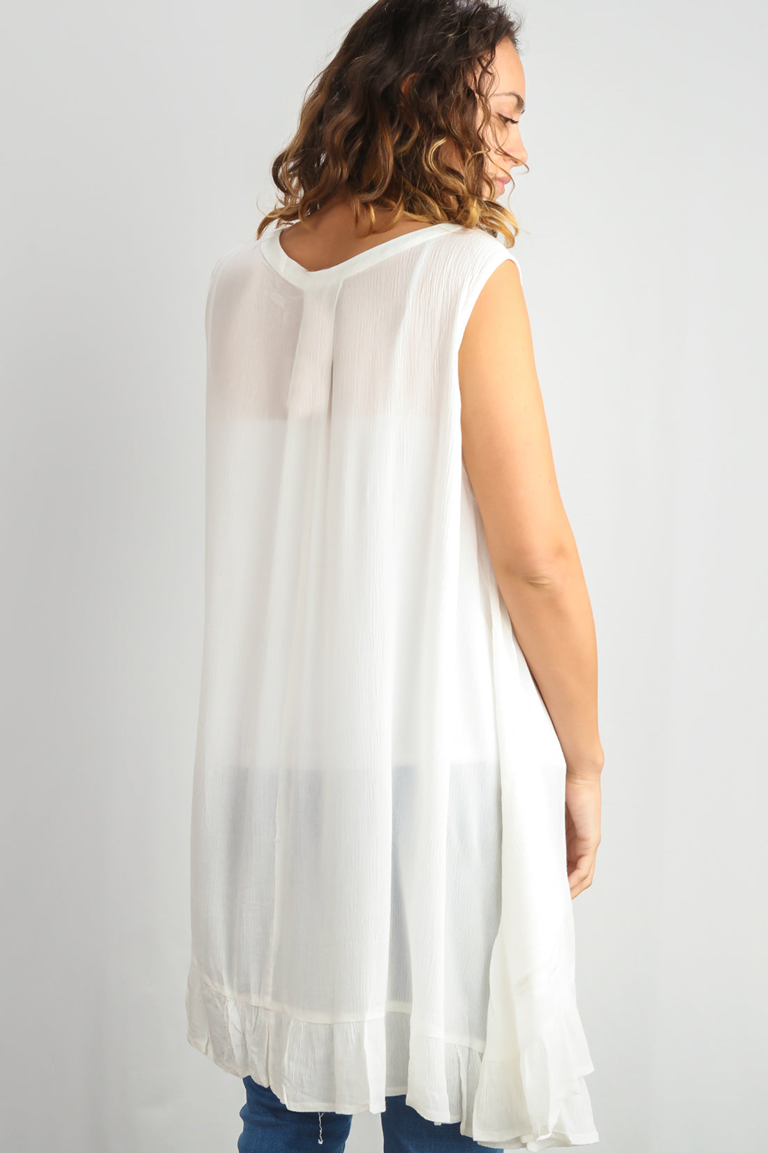 Ivory Pleated Key Hole Tunic