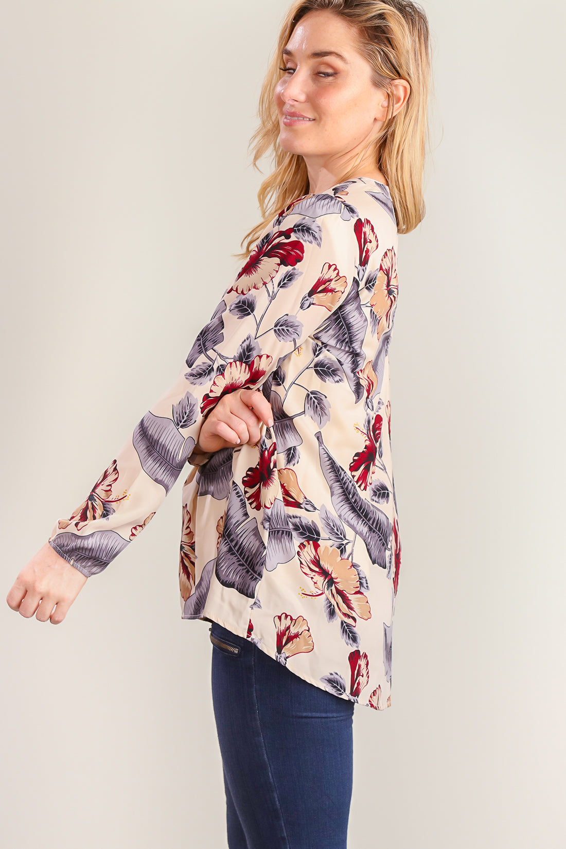 Taupe Key Hole Feather Print Blouse
