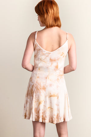 Ivory & Brown Ribbed Tie Dye Dress