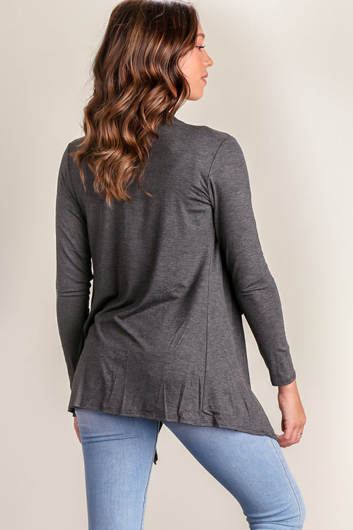 Charcoal Solid Cardigan