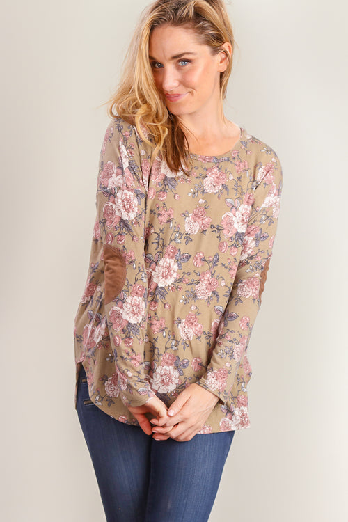 Olive Floral Elbow Patch Blouse