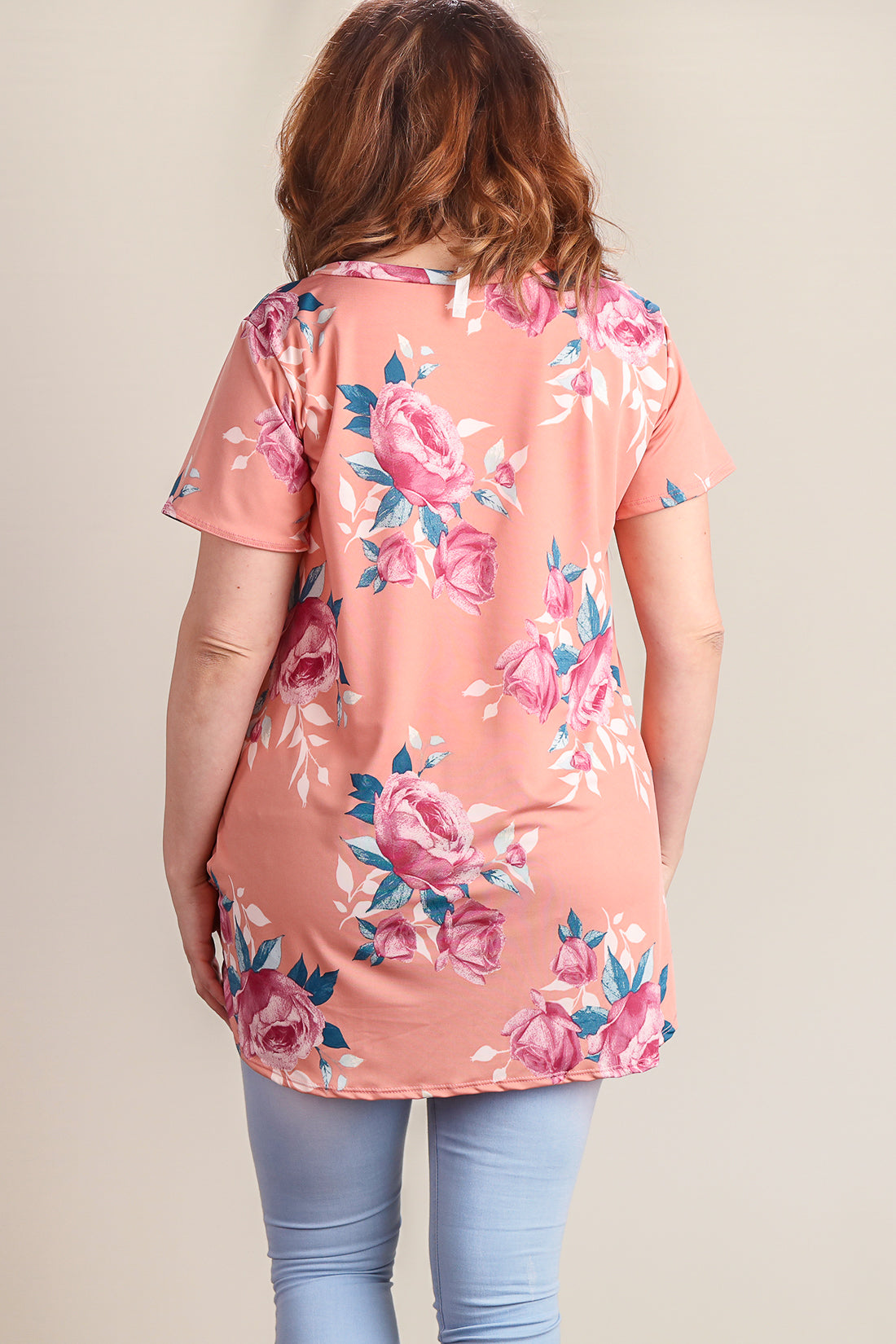 Plus Peach Floral Knot Front Blouse