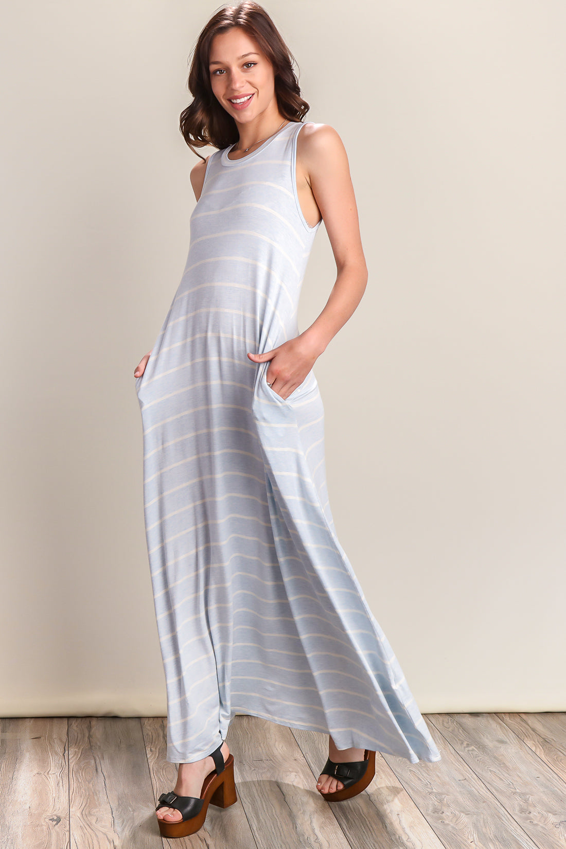 Powder Blue Round Neck Stripe Maxi Dress