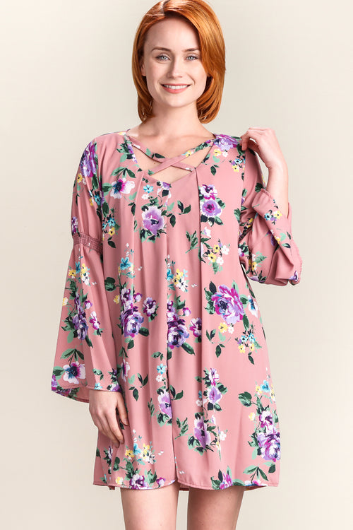 Blush Floral Bell Sleeve Lined Dress