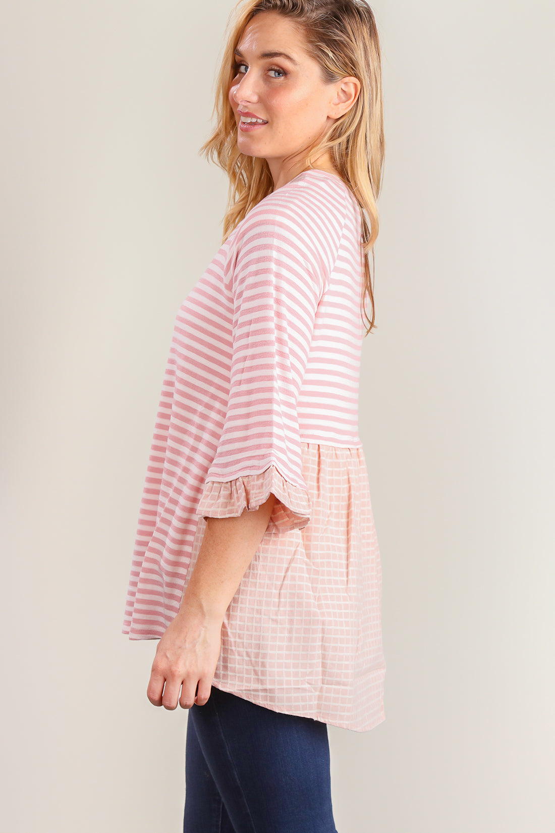 Pink Stripe Bell Sleeve Blouse