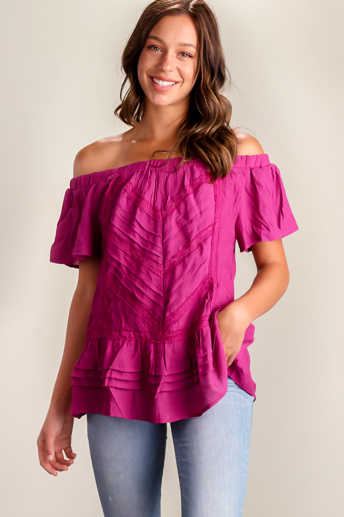 Purple Crochet Off Shoulder Blouse