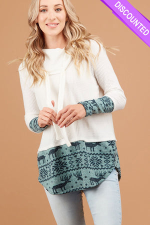 Ivory Thermal Holiday Cowl Sweater