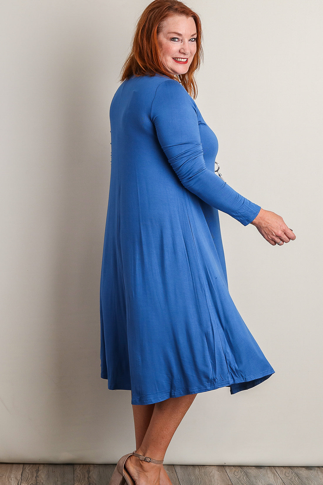 Plus Blue Close Neck Midi Dress