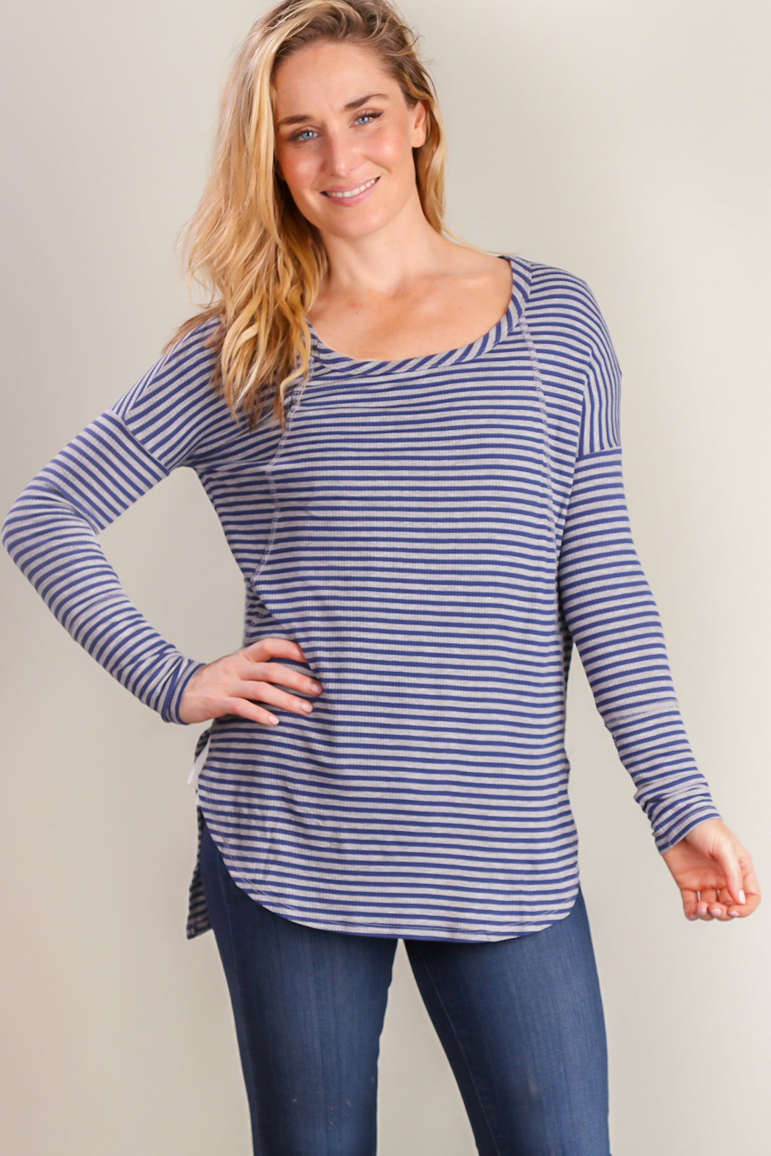 bd7aa647b0a124 Navy Stripe Design Blouse – Bloom Wholesale Clothing