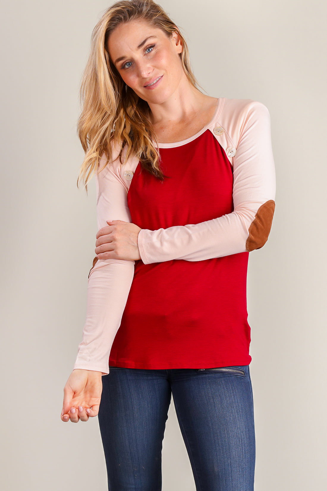 Burgundy Red Button Embellished Raglan