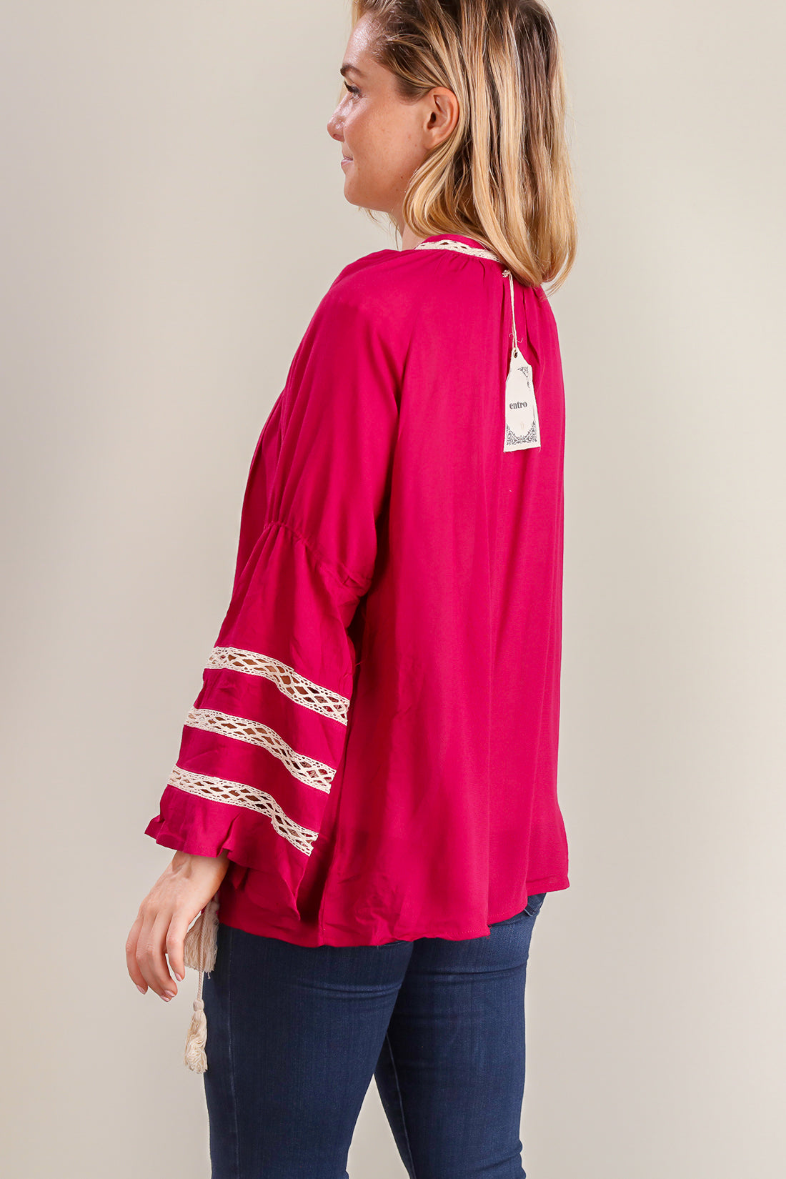 Magenta Crochet Design Bell Sleeve Blouse