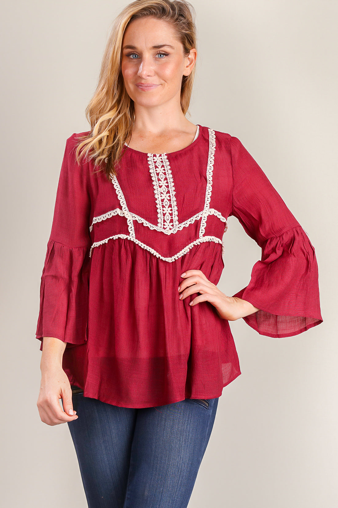 Burgundy Crochet Design Blouse