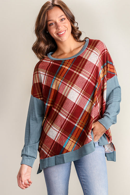 Burgundy & Blue Plaid Sweater
