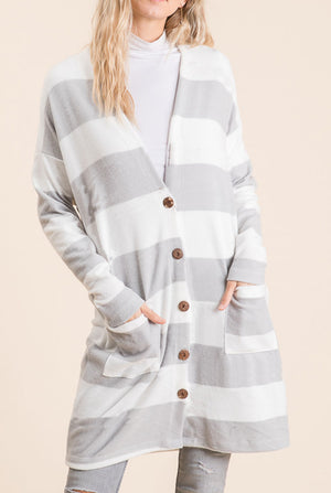 Heather Grey Stripe Button Cardigan (50% Off Defective Stripe)