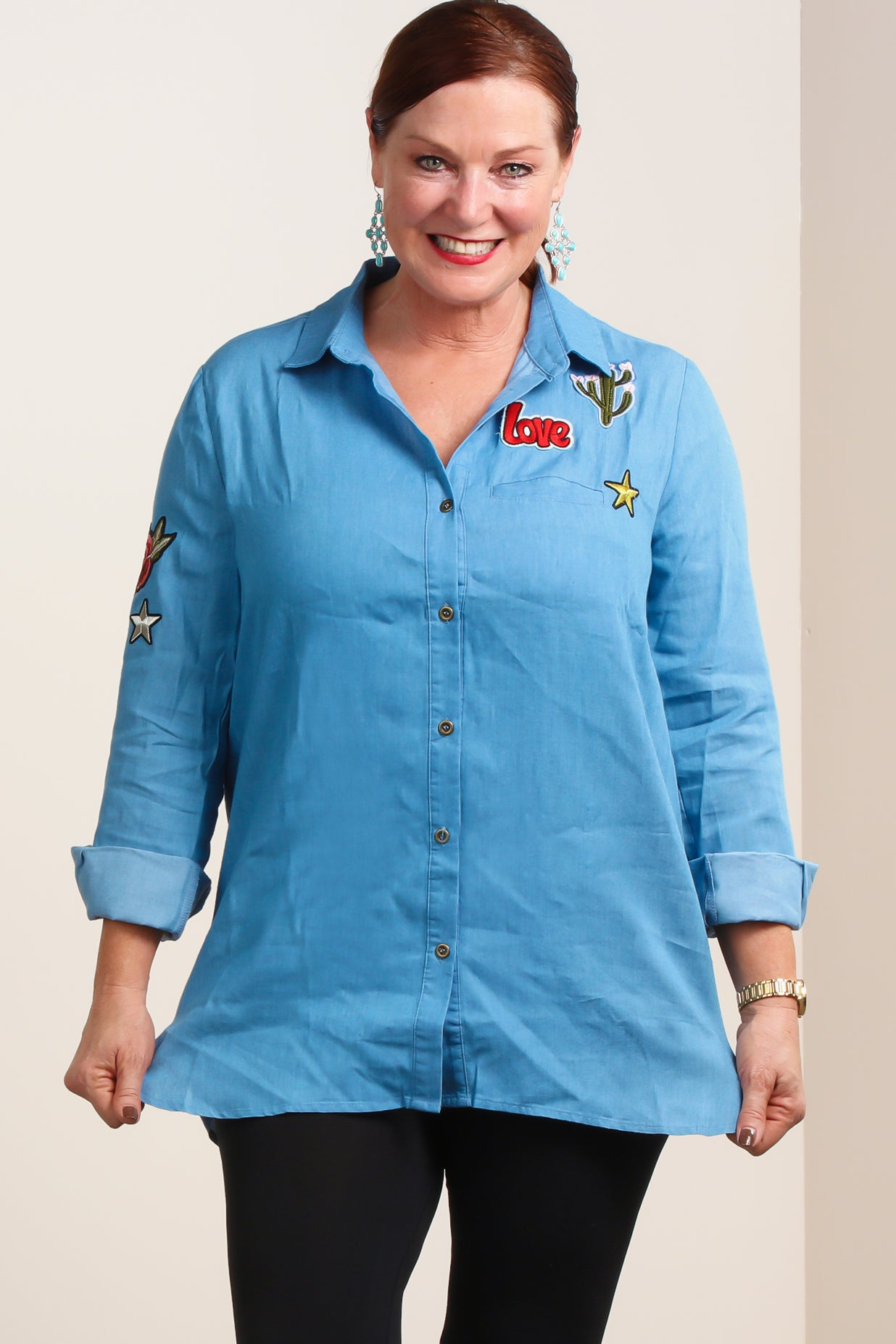 Light Blue Denim Patch Embellished Tunic