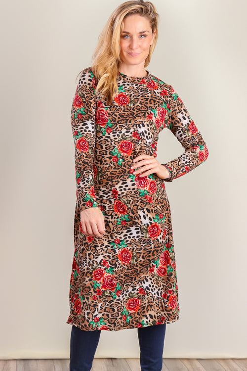 Brown Floral Leopard Dress