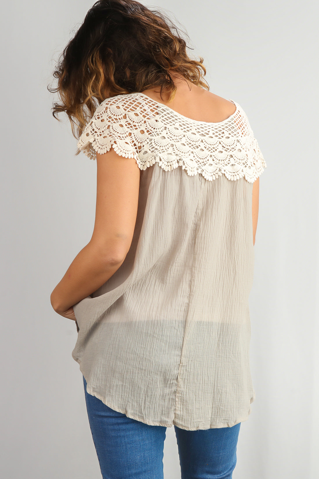 Plus Taupe Crochet Upper Top