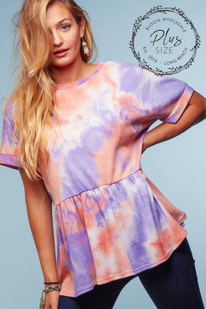 Plus Coral & Purple Tie Dye Thermal Peplum