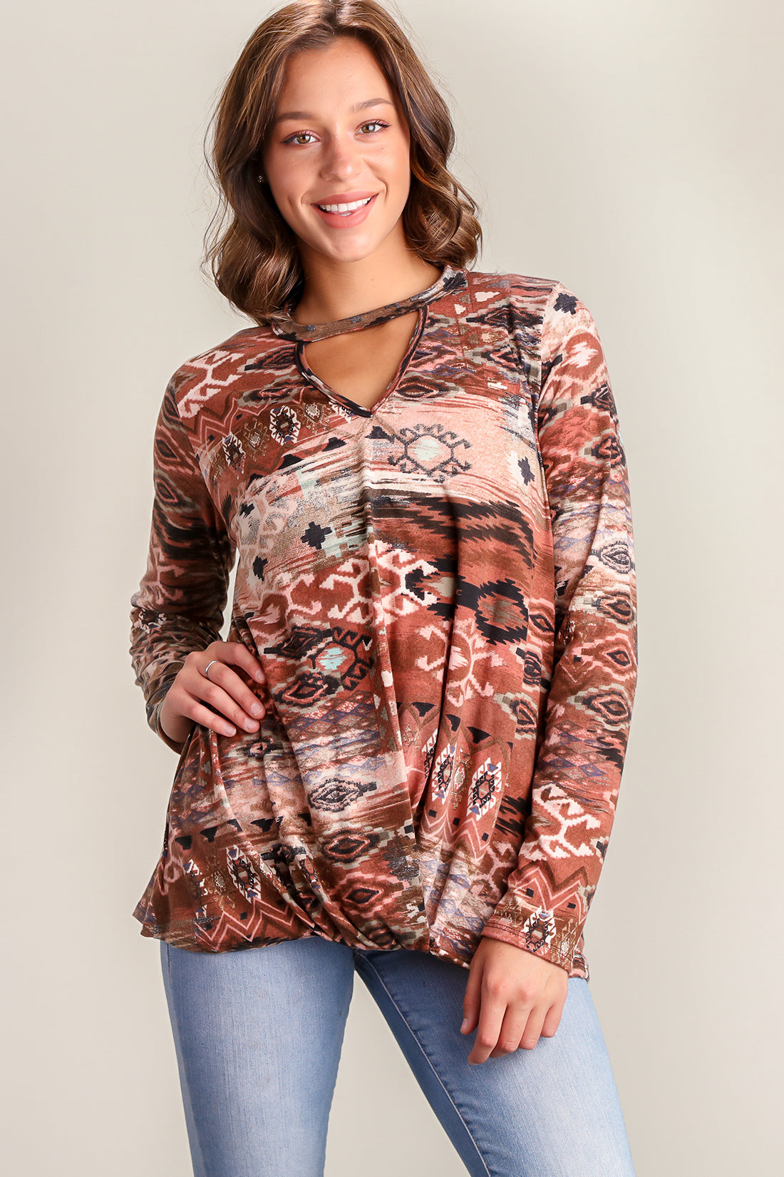 Brown Tribal Blouse