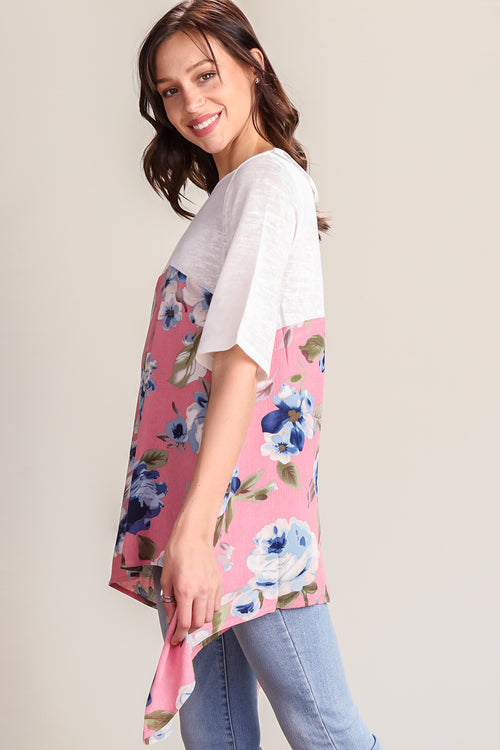 Pink Violet Floral Colorblock Tunic