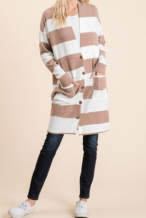 Taupe Stripe Button Cardigan (50% Off Defective Stripe)