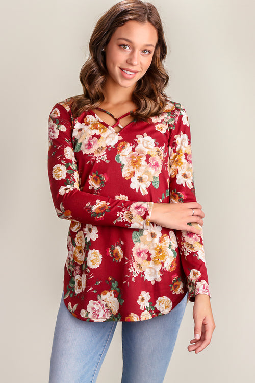 Burgundy Floral Panel Design Blouse