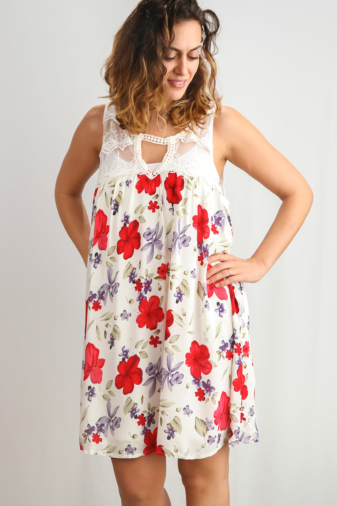 Ivory & Red Floral Crochet Upper Lined Dress
