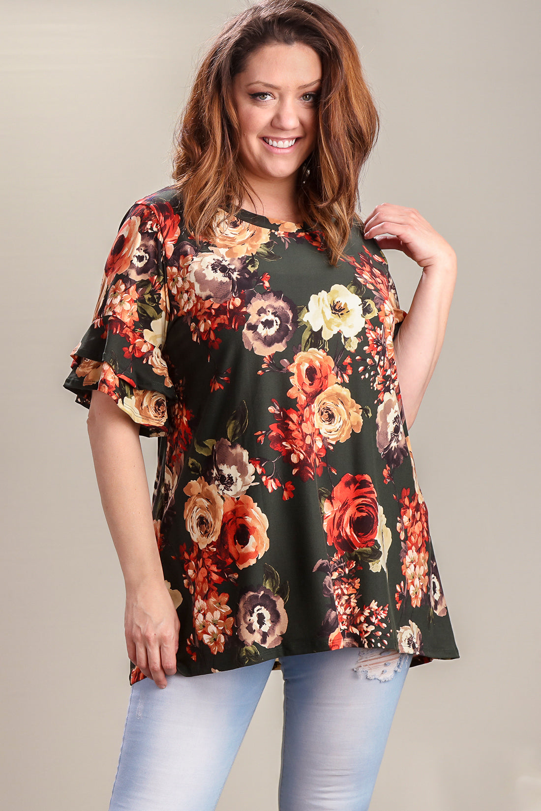 Plus Forest Green Floral Double Bell Sleeve Tunic