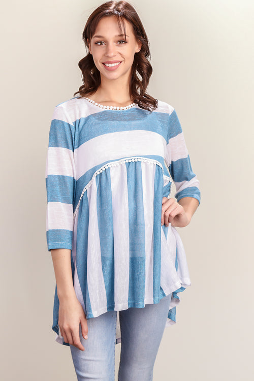 Blue & White Stripe Crochet Lined Baby Doll Tunic