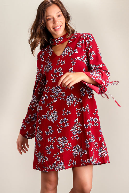 Burgundy Floral Choker Lined Dress