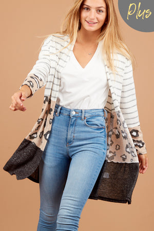Plus Taupe Stripe Animal Colorblock Cardigan
