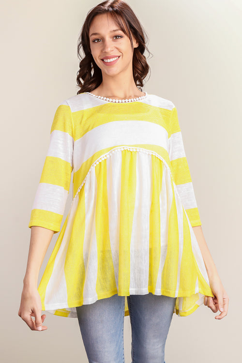 Yellow & White Stripe Crochet Lined Baby Doll Tunic