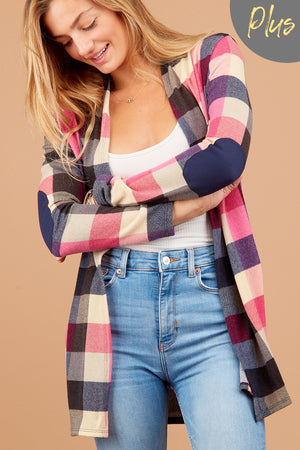 Plus Navy Plaid Elbow Patch Cardigan