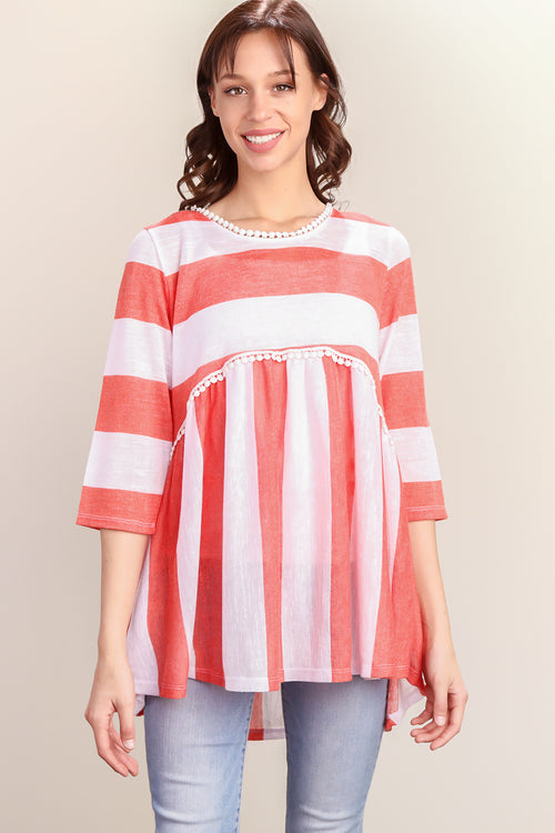 Coral & White Stripe Crochet Lined Baby Doll Tunic