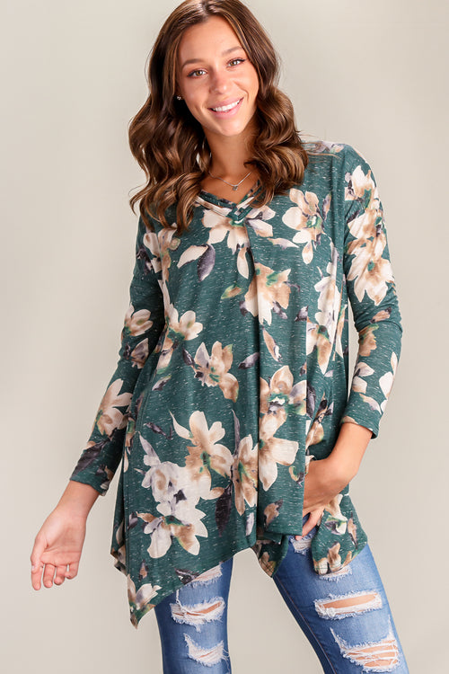 Forest Green Floral Panel Design Blouse